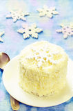 Coconut chocolate cake with butter cream Royalty Free Stock Images