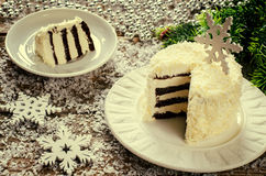 Coconut chocolate cake with butter cream Stock Photos
