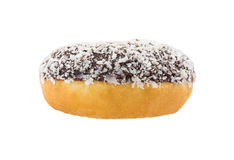Coconut chocolate donut isolated on white background Royalty Free Stock Photography