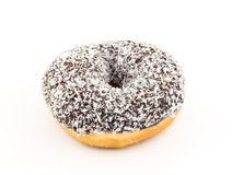 Coconut chocolate donut on white background Royalty Free Stock Photography