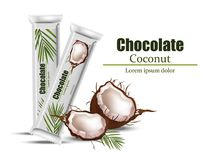 Coconut chocolate package mock up. Vector Layout of food identity branding, packaging design. Healthy organic product. Natural vegan nutrition vector Stock Photo