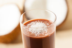 Coconut chocolate smoothie stock photo