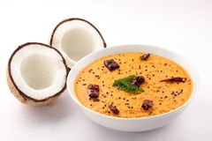 coconut chutney.with coconuts Stock Image