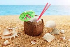 Coconut cocktail at the beach. Shells Stock Photos