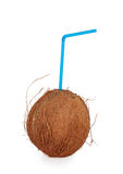 Coconut cocktail with blue straw Royalty Free Stock Images