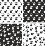 Coconut Cocktail Drink Aligned & Random Seamless Pattern Set Stock Image