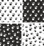 Coconut Cocktail Drink Big & Small Aligned & Random Seamless Pattern Set Royalty Free Stock Image