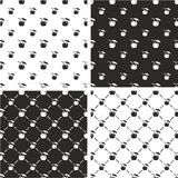 Coconut Cocktail Drink Big & Small Seamless Pattern Set Royalty Free Stock Photography