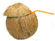 Coconut cocktail drink with straw isolated Stock Photography