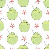 Coconut cocktail seamless vector pattern Stock Images