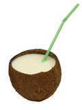 Coconut with a cocktail straw. Royalty Free Stock Photo