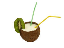 Coconut with a cocktail straws. Royalty Free Stock Photo