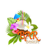 Coconut Cocktail in Summer With Garnish and Straw Royalty Free Stock Photos