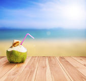 Coconut cocktail on a tropical beach Stock Image