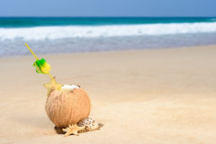Coconut cocktail. A cocktail of coconut and tropical fruits on a beach Royalty Free Stock Image