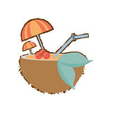 Coconut cocktail umbrella straw drink refreshment color sketch. Illustration eps 10 Royalty Free Stock Image