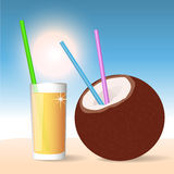 Coconut Cocktail. Vector Illustration Royalty Free Stock Photos