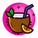 Coconut cocktail vector illustration Royalty Free Stock Photo