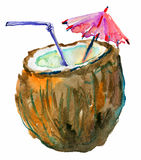 Coconut Cocktail, watercolor illustration. On white paper stock illustration