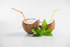 Coconut cocktail on white background Royalty Free Stock Photo