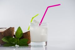 Coconut cocktail on white background Royalty Free Stock Images