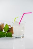 Coconut cocktail on white background Stock Photos