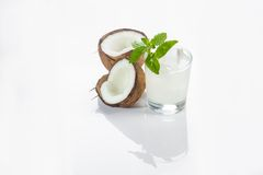 Coconut cocktail on white background Stock Photography