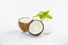 Coconut cocktail on white background Stock Image