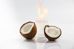 Coconut cocktail on white background Stock Images
