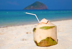 Coconut cocktail. On the white sandy beach Stock Photo