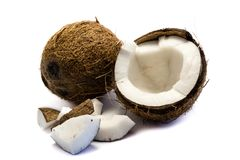 Coconut cocoanut brown coco break isolated on white Background cutout. Studio stock photo