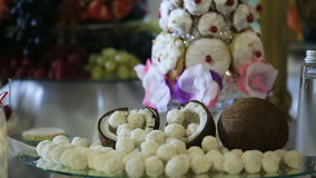 Coconut and coconut candies stock footage