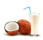Coconut with a coconut milk cocktail. stock illustration