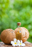 Coconut and coconut oil. Image of Coconut and coconut oil Royalty Free Stock Photography