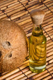 Coconut and coconut oil. Image of Coconut and coconut oil Stock Photography