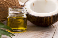 Coconut and coconut oil. Coconut and oil. food ingredients Royalty Free Stock Photo