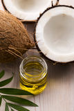 Coconut and coconut oil. Coconut and oil. food ingredients Stock Photos