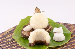 Coconut and Coconut Sweets. Coconut, sweet coconut and shells on white background stock images