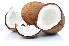 Coconut coconuts fruit sliced portion fruits  on white. Coconut coconuts fruit sliced portion fruits  on a white background Royalty Free Stock Image