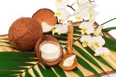 Coconut cocos with cream, wooden spoon, white orchid and green p Stock Photos
