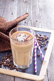 Coconut coffee chocolate smoothie Royalty Free Stock Images