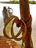 Coconut coir Rope on tree with reflection boat tired in river Royalty Free Stock Images