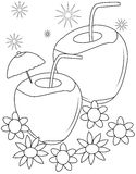Coconut coloring page Royalty Free Stock Photo