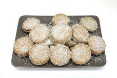 Coconut cookie. Handmade coconut cookies stuffed with chocolate cream stock photo