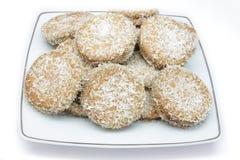 Coconut cookie. Handmade coconut cookies stuffed with chocolate cream stock image