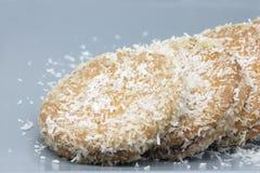 Coconut cookie. Handmade coconut cookies stuffed with chocolate cream royalty free stock image