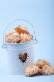 Coconut cookies in bucket Royalty Free Stock Image