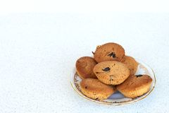 Coconut cookies with chocolate chips on a plate - right mock up template Royalty Free Stock Image