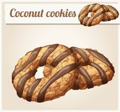 Coconut cookies with chocolate stripes illustration. Cartoon vector icon. Series of food and drink and ingredients for cooking Royalty Free Stock Image