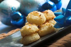 Coconut cookies with christmas decor Stock Photos